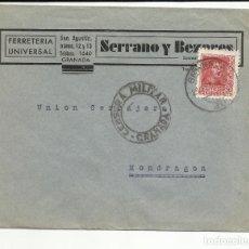 Sellos: CIRCULADA DE GRANADA A MONDRAGON GUIPUZCOA CON CENSURA MILITAR . Lote 121091299