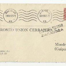 Sellos: CIRCULADA 1937 DE ZARAGOZA A MONDRAGON GUIPUZCOA CON CENSURA MILITAR Y SELLO LOCAL. Lote 121091355