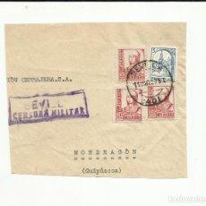 Sellos: FRAGMENTO 1937 DE SEVILLA A MONDRAGON GUIPUZCOA CON CENSURA MILITAR . Lote 121092227