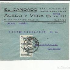 Sellos: CIRCULADA 1938 DE BADAJOZ A MONDRAGON GUIPUZCOA CENSURA MILITAR VER FOTO. Lote 121101731
