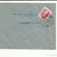 Sellos: CIRCULADA 1938 DE BADAJOZ A MONDRAGON GUIPUZCOA SELLO LOCAL Y CENSURA MILITAR. Lote 121103783