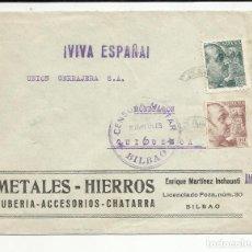 Sellos: CIRCULADA 1939 DE BILBAO A MONDRAGON GUIPUZCOA CON CENSURA MILITAR . Lote 121123415
