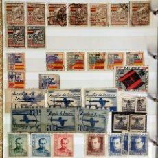 Sellos: CLASIFICADOR + 250 SELLOS GUERRA CIVIL LOCALES VIÑETAS - NUEVOS USADOS. Lote 121130031