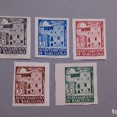 Sellos: ESPAÑA- 1943 - BARCELONA - EDIFIL 42/46 S - SIN DENTAR - SERIE COMPLETA - MNH** - NUEVOS - VALOR 42€. Lote 121266359