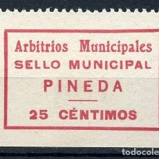 Sellos: GUERRA CIVIL, SELLO MUNICIPAL, PINEDA, ARBITRIOS MUNICIPALES, VALOR: 25 CTS.. Lote 121471251