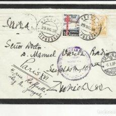 Sellos: CIRCULADA 1938 HERNANI GUIPUZCOA A ZURICH SUIZA REEXPEDIDA A PARIS CON CENSURA MILITAR. Lote 121497875