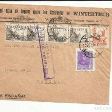 Sellos: FRONTAL CIRCULADA SEGUROS WINTERTHUR 1938 DE VIGO A SEVILLA CON CENSURA MILITAR. Lote 121498171