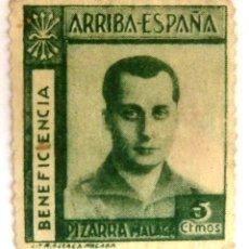 Sellos: SELLOS JOSE ANTONIO PRIMO DE RIVERA. ARRIBA ESPAÑA. BENEFICENCIA. PIZARRA. MALAGA.. Lote 121536115