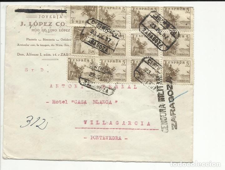 CIRCULADA 1937 DE ZARAGOZA A VILLAGARCIA PONTEVEDRA CON CENSURA MILITAR (Sellos - España - Guerra Civil - De 1.936 a 1.939 - Cartas)