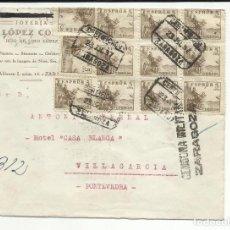 Sellos: CIRCULADA 1937 DE ZARAGOZA A VILLAGARCIA PONTEVEDRA CON CENSURA MILITAR . Lote 121581859