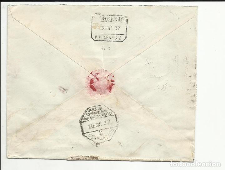 Sellos: circulada 1937 de zaragoza a villagarcia pontevedra con censura militar - Foto 2 - 121581859
