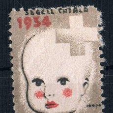 Sellos: VIÑETA REPUBLICA.GUERRA CIVIL. * PRO INFANCIA. 1934 SEGELL CATALA. Lote 121754699