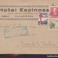 Sellos: F24-43-CARTA CALAHORRA-JEREZ DE LA FRONTERA 1938. TUBERCULOSOS Y CENSURA . Lote 121929959