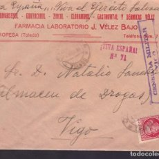 Sellos: F24-45-CARTA FARMACIA OROPESA (TOLEDO ). CENSURA VIGO. Lote 121930495