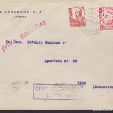 Sellos: F24-76-CARTA UTRERA SEVILLA 1937. LOCAL Y CENSURA . Lote 121937279