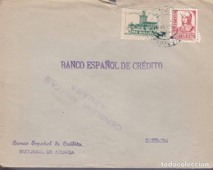 F24-96-CARTA AZUAGA BADAJOZ 1938.LOCAL Y CENSURA (Sellos - España - Guerra Civil - De 1.936 a 1.939 - Cartas)
