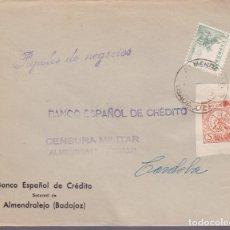 Sellos: F24-100-CARTA ALMENDRALEJO BADAJOZ.1938. LOCAL (VARIEDAD) Y . CENSURA .. Lote 121938403