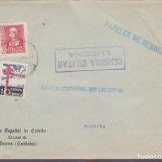 Sellos: F25-8-CARTA LUCENA CÓRDOBA 1938 .TUBERCULOSOS Y CENSURA. Lote 122008111