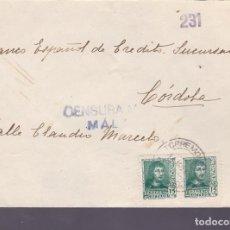 Sellos: F25-10-CARTA TORREMOLINOS MÁLAGA 1938 . LOCAL Y CENSURA. Lote 122009183