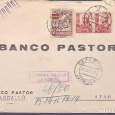 Sellos: F25-12-CARTA CARBALLO 1937 .LOCAL Y CENSURA . Lote 122011247