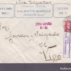 Sellos: F25-16-CARTA FARMACIA VALENTIN GARCÍA SAHAGÚN LEÓN 1937 .CENSURA VIGO. Lote 122014643