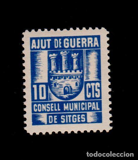 CL4-19-02 GUERRA CIVIL SITGES(BARCELONA). 5 CTS AZUL CONSELL MUNICIPAL AJUT DE GUERRA FESOFI Nº 3 (Sellos - España - Guerra Civil - Locales - Nuevos)
