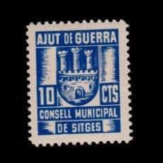 Sellos: CL4-19-02 GUERRA CIVIL SITGES(BARCELONA). 5 CTS AZUL CONSELL MUNICIPAL AJUT DE GUERRA FESOFI Nº 3. Lote 122249515