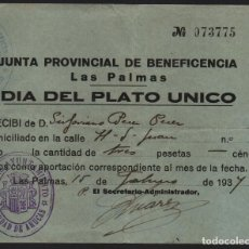 Sellos: LAS PALMAS - URUCAS- DIA DEL PLATO UNICO.- J.P. BENEFICENCIA, VER FOTO. Lote 122527335