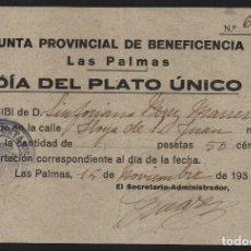 Selos: LAS PALMAS - URUCAS- DIA DEL PLATO UNICO.- J.P. BENEFICENCIA, VER FOTO. Lote 122528315