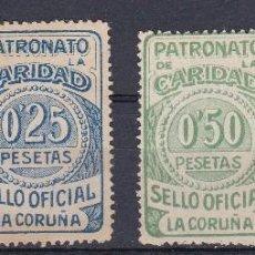 Sellos: 4 VIÑETAS DE LA GUERRA CIVIL DE PATRONATO DE LA CARIDAD DE LA CORUÑA (SELLO OFICIAL). Lote 122578695