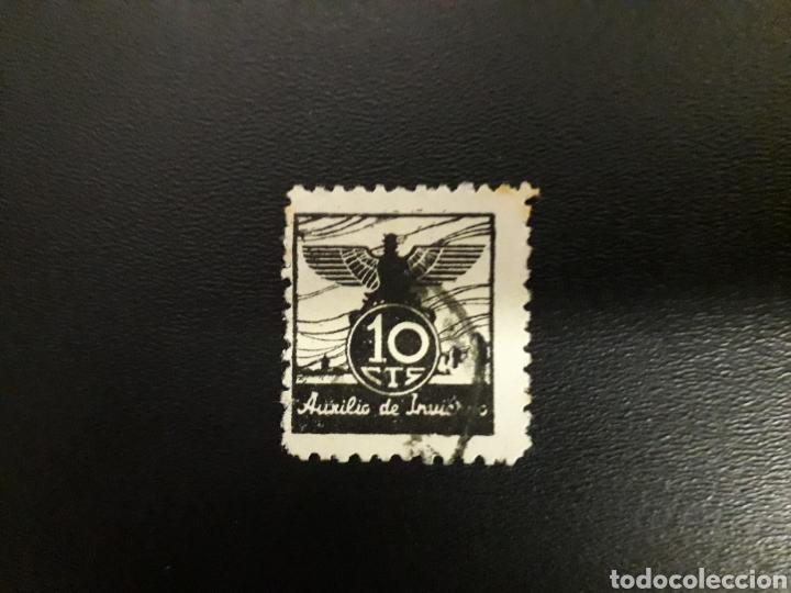 ESPAÑA. GUERRA CIVIL. AUXILIO DE INVIERNO. 10 CTS . (Sellos - España - Guerra Civil - Viñetas - Usados)