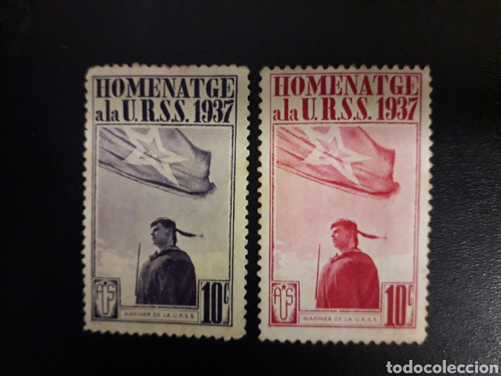 ESPAÑA. GUERRA CIVIL. 2 VIÑETAS HOMENTGE A LA URSS. USADOS 10 CTS (Sellos - España - Guerra Civil - Viñetas - Usados)