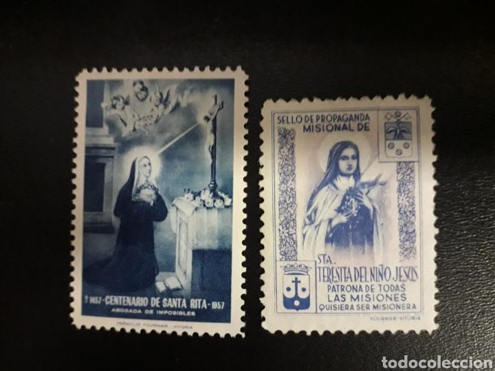 ESPAÑA. 2 VIÑETAS DE SANTA TERESA DE JESÚS Y SANTA RITA. SIN GOMA. (Sellos - España - Guerra Civil - Viñetas - Usados)