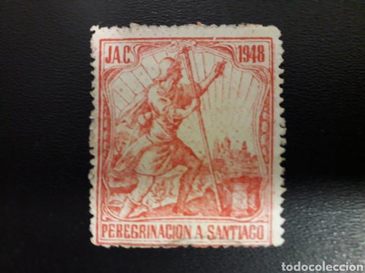 ESPAÑA. GUERRA CIVIL. PEREGRINACIÓN A SANTIAGO. JUVENTUDES DE ACCIÓN CATÓLICA. 1948. (Sellos - España - Guerra Civil - Viñetas - Usados)