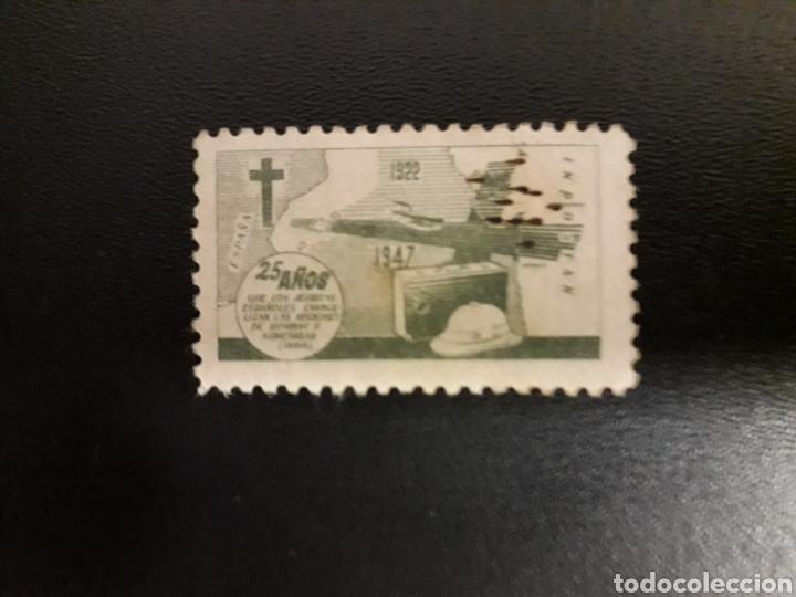 ESPAÑA. VIÑETA JESUITAS EN LA INDIA. 25 AÑOS 1922-1947. BOMBAY (Sellos - España - Guerra Civil - Viñetas - Usados)