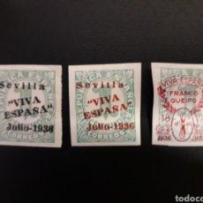 Sellos: ESPAÑA. EMISIONES LOCALES PATRIÓTICAS. SEVILLA. EDIFIL 18, 18C Y 57. NUEVOS SIN CHARNELA.. Lote 123006066