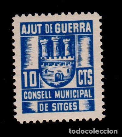 TCL4-19 GUERRA CIVIL SITGES(BARCELONA). 10 CTS AZUL CONSELL MUNICIPAL AJUT DE GUERRA FESOFI Nº 3 SIN (Sellos - España - Guerra Civil - Locales - Nuevos)