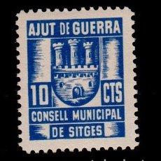 Sellos: TCL4-19 GUERRA CIVIL SITGES(BARCELONA). 10 CTS AZUL CONSELL MUNICIPAL AJUT DE GUERRA FESOFI Nº 3 SIN. Lote 123058779
