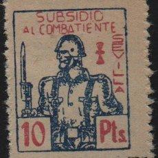 Sellos: SEVILLA, 10 PTA, -SUBSIDIO AL COMBATIENTE-, ALLEPUZ Nº 127. VER FOTO. Lote 123331927