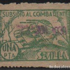 Sellos: SEVILLA, 1 PTA, -SUBSIDIO AL COMBATIENTE-, ALLEPUZ Nº 129. VER FOTO. Lote 123332091