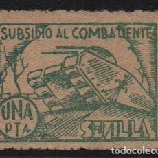 Sellos: SEVILLA, 1 PTA, -SUBSIDIO AL COMBATIENTE-, ALLEPUZ Nº 128. VER FOTO. Lote 123332183