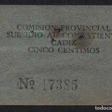 Sellos: CADIZ, 5 CTS--SUBSIDIO AL COMBATIENTE-- VER FOTO. Lote 123333179