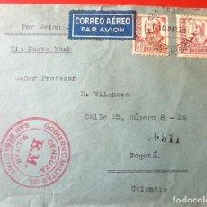 Sellos: 1937 CARTA CON CENSURA MILITAR SAN SEBASTIAN SELLOS 4 PTAS ISABEL. Lote 124535407