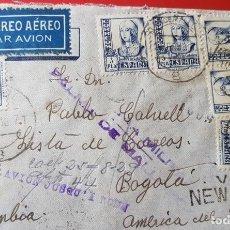 Sellos: 1937 CARTA CON CENSURA MILITAR PALMA DE MALLORCA VIÑETA Y 6 SELLOS ISABEL 1PTA. Lote 124536519
