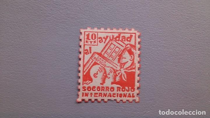 ESPAÑA - 1937 - GUERRA CIVIL - VIÑETA - AYUDAD AL SOCORRO ROJO INTERNACIONAL - 10C - MH* - NUEVA. (Sellos - España - Guerra Civil - Viñetas - Nuevos)