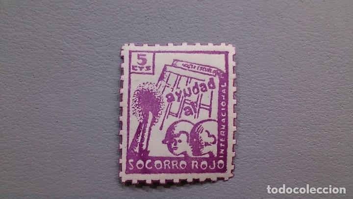 ESPAÑA - 1937 - GUERRA CIVIL - VIÑETA - AYUDAD AL SOCORRO ROJO - 5C - MH* - NUEVA -GG 1554. (Sellos - España - Guerra Civil - Viñetas - Nuevos)