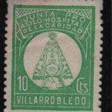 Sellos: VILLAROBLEDO, 10 CTS, JUNTA PRO ASILO -HOSPITAL CARIDAD, CALIDAD MEDIA-VER FOTO. Lote 124601663