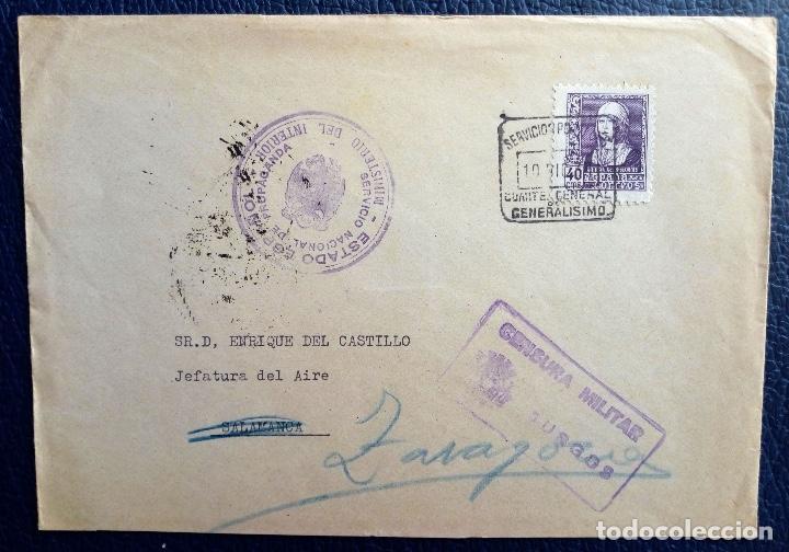 BURGOS SALAMANCA ZARAGOZA 1938 CUARTEL GENERALÍSIMO MINISTERIO INTERIOR SERVICIO PROPAGANDA (Sellos - España - Guerra Civil - De 1.936 a 1.939 - Cartas)