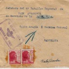Sellos: CARTA GUERRA CIVIL.-19 BRIGADA MIXTA - SERVICIO DE TREN 27 JULIO DE 1936 BARCELONA. Lote 125070503