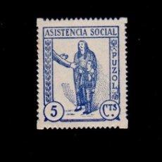 Sellos: CL4-8-70 GUERRA CIVIL PUZOL (VALENCIA) ASSITENCIA SOCIAL 5 CTS AZUL FESOFI Nº 2C - D. 16 X 15.50 N. Lote 125335387